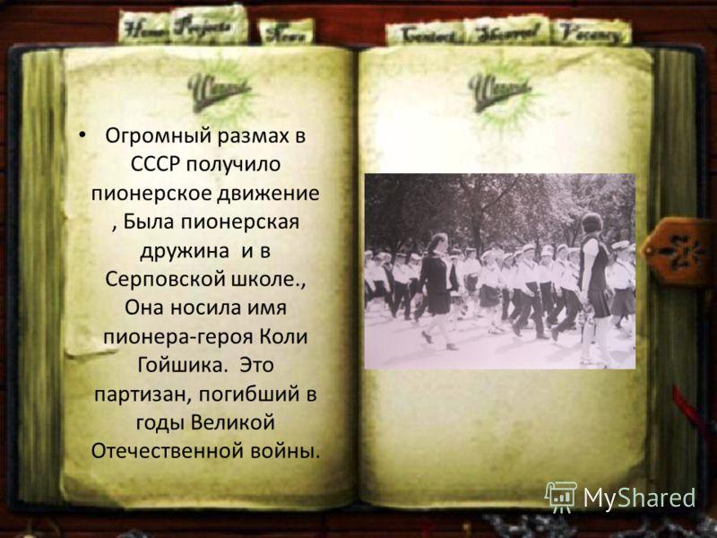 Огромный размах в СССР получило пионерское движение, Была пионерская дружина и в Серповской школе., Она носила имя пионера-героя Коли Гойшика. Это партизан, погибший в годы Великой Отечественной войны.