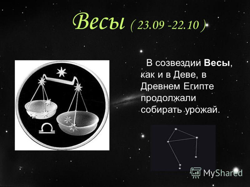 Весы ( 23.09 -22.10 ) В созвездии Весы, как и в Деве, в Древнем Египте продолжали собирать урожай.