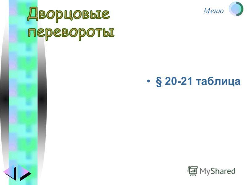 Меню § 20-21 таблица