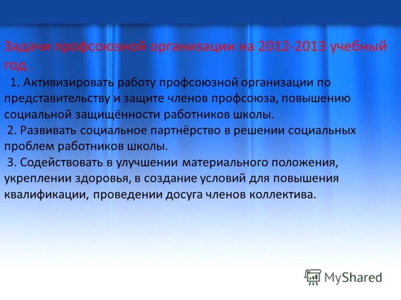 Задачи профсоюзной организации на 2012-2013 учебный год. 1. Активизировать работу профсоюзной организации по представительству и защите членов профсоюза, повышению социальной защищённости работников школы. 2. Развивать социальное партнёрство в решени
