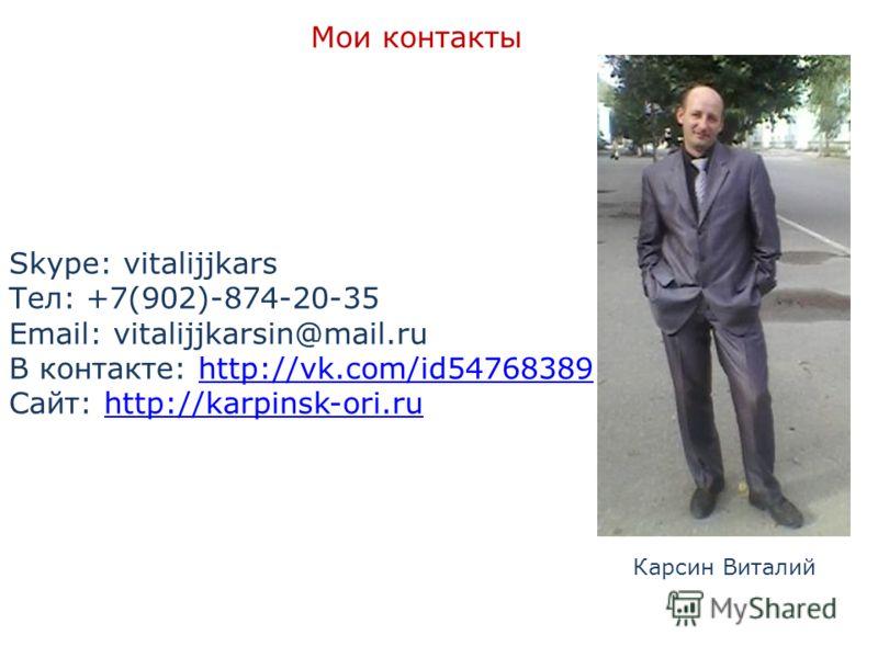 Мои контакты Skype: vitalijjkars Тел: +7(902)-874-20-35 Email: vitalijjkarsin@mail.ru В контакте: http://vk.com/id54768389http://vk.com/id54768389 Сайт: http://karpinsk-ori.ruhttp://karpinsk-ori.ru Карсин Виталий