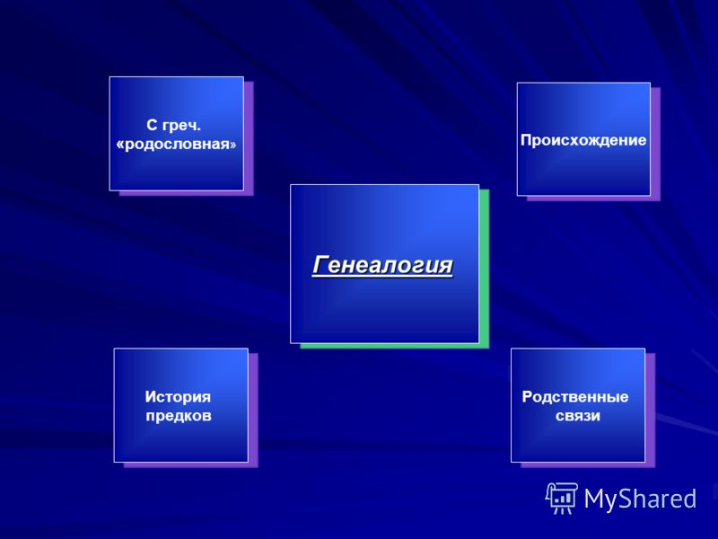 Генеалогия С греч. «родословная» Происхождение Родственные связи История предков
