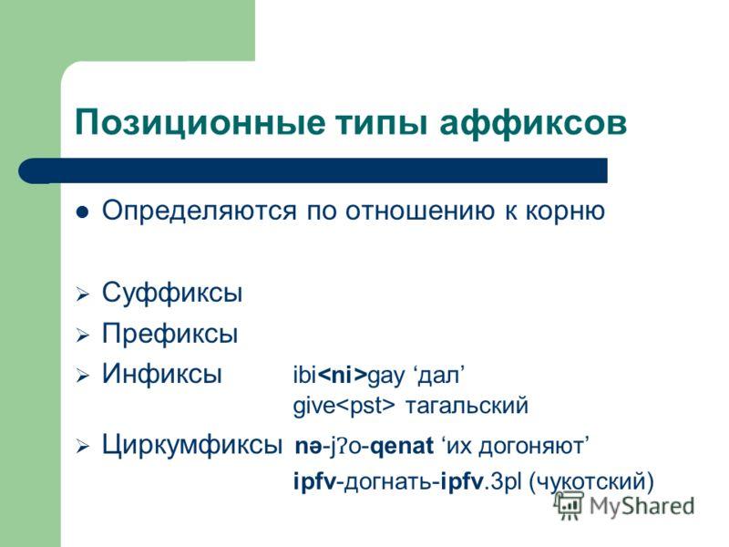 Позиционные типы аффиксов Определяются по отношению к корню Суффиксы Префиксы Инфиксы ibi gay дал give тагальский Циркумфиксы nә-jo-qenat их догоняют ipfv-догнать-ipfv.3pl (чукотский)
