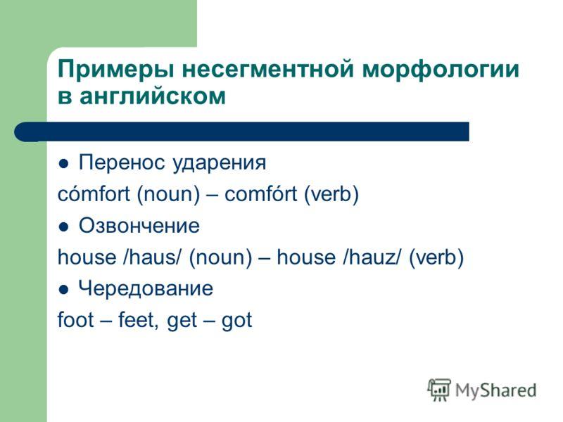 Примеры несегментной морфологии в английском Перенос ударения cómfort (noun) – comfórt (verb) Озвончение house /haus/ (noun) – house /hauz/ (verb) Чередование foot – feet, get – got