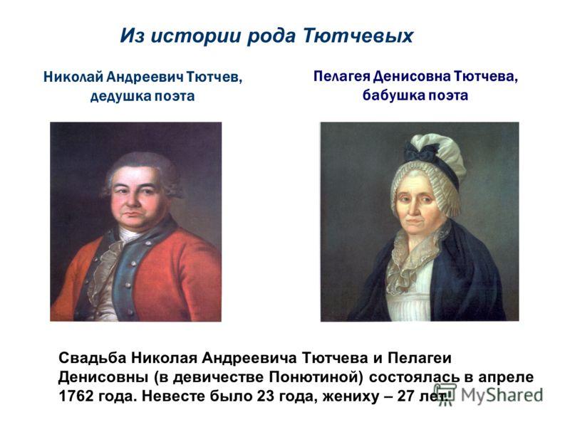 Пелагея Денисовна Тютчева, бабушка поэта Николай Андреевич Тютчев, дедушка поэта Свадьба Николая Андреевича Тютчева и Пелагеи Денисовны (в девичестве Понютиной) состоялась в апреле 1762 года. Невесте было 23 года, жениху – 27 лет. Из истории рода Тют
