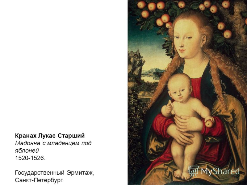Кранах Лукас Старший Мадонна с младенцем под яблоней 1520-1526. Государственный Эрмитаж, Санкт-Петербург.