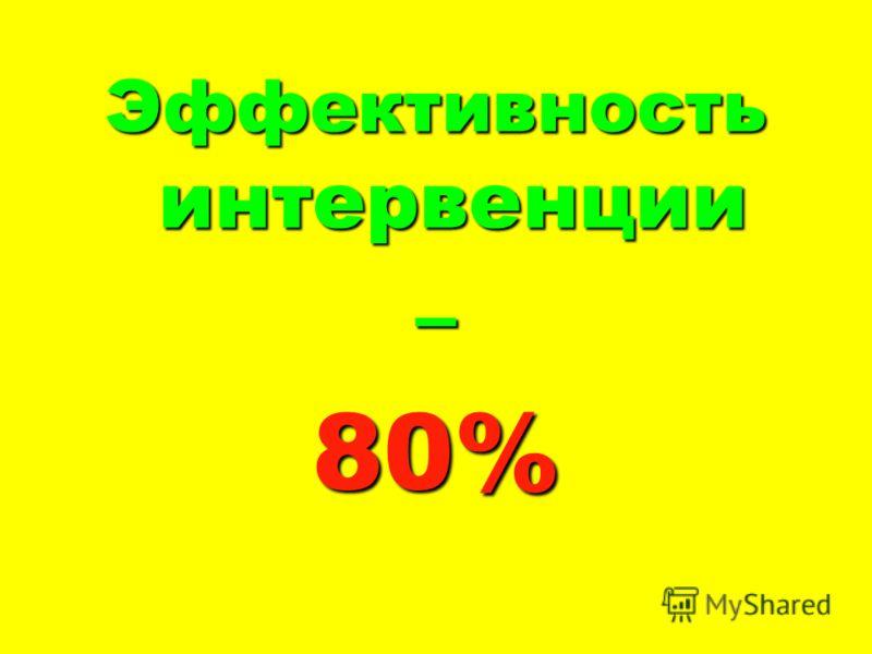 Эффективность интервенции –80%