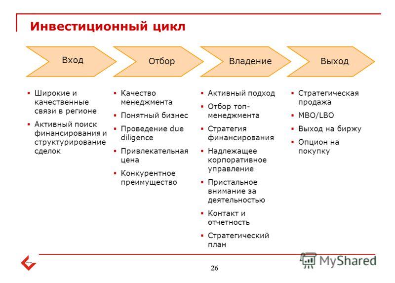 Инвестиционный цикл 26 Качество менеджмента Понятный бизнес Проведение due diligence Привлекательная цена Конкурентное преимущество Широкие и качественные связи в регионе Активный поиск финансирования и структурирование сделок Активный подход Отбор т