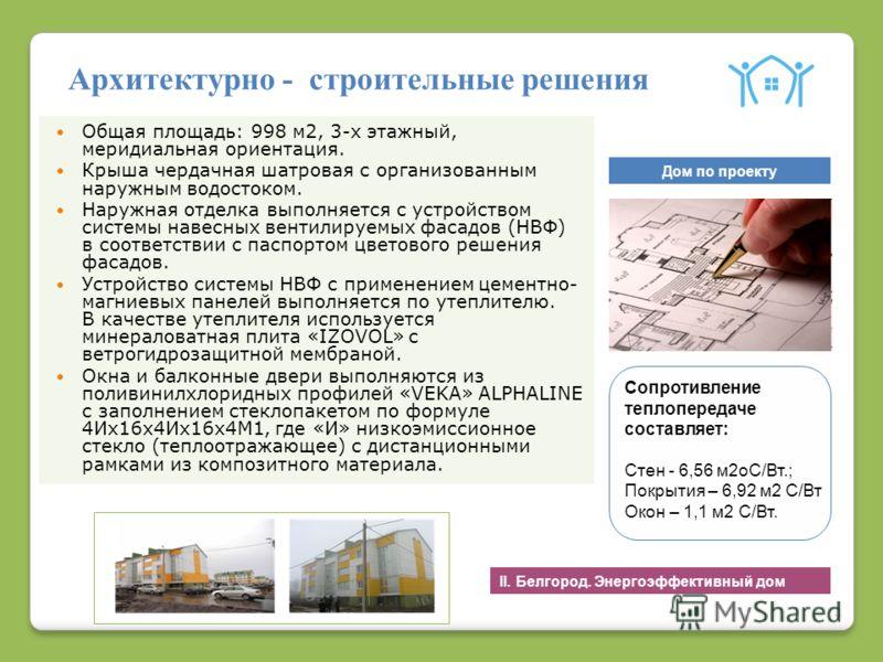 4 Архитектурно - строительные решения Общая площадь: 998 м2, 3-х этажный, меридиальная ориентация. Крыша чердачная шатровая с организованным наружным водостоком. Наружная отделка выполняется с устройством системы навесных вентилируемых фасадов (НВФ)