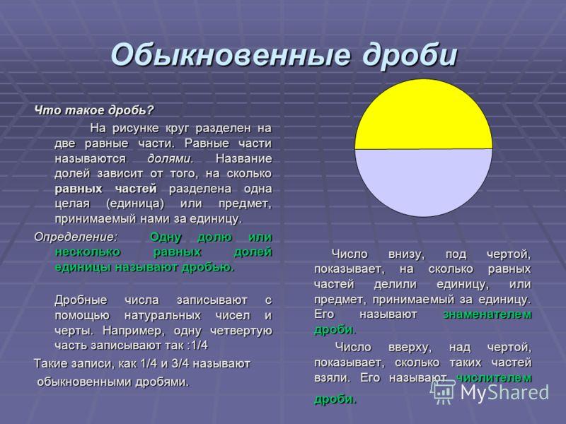 Обыкновенные дроби Что такое дробь? На рисунке круг разделен на две равные части. Равные части называются долями. Название долей зависит от того, на сколько равных частей разделена одна целая (единица) или предмет, принимаемый нами за единицу. На рис
