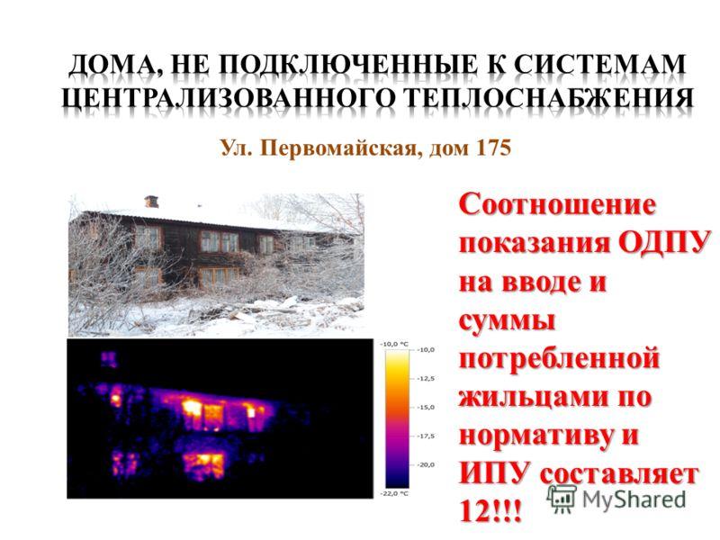 Ул. Первомайская, дом 175 Соотношение показания ОДПУ на вводе и суммы потребленной жильцами по нормативу и ИПУ составляет 12!!!