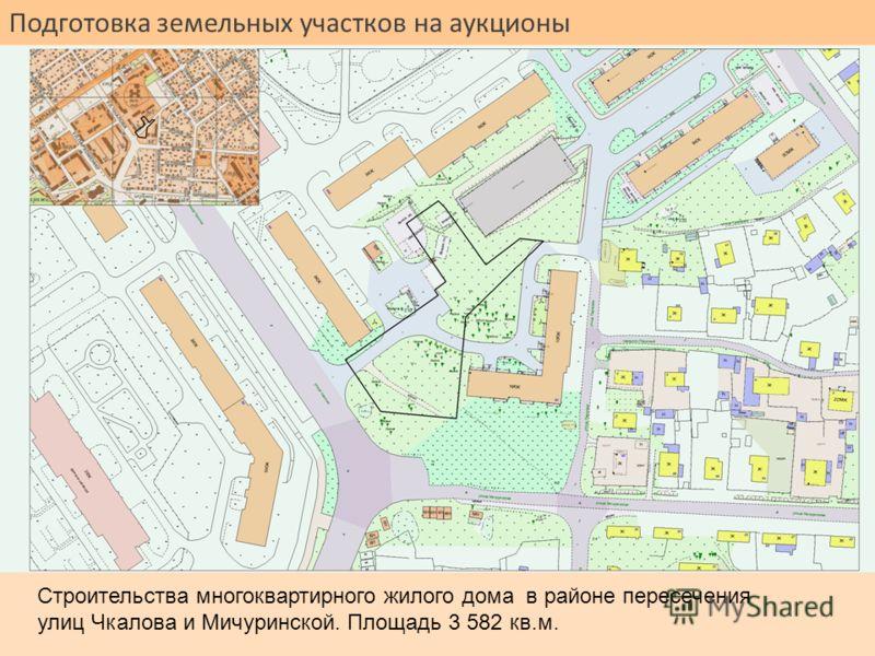 Подготовка земельных участков на аукционы Строительства многоквартирного жилого дома в районе пересечения улиц Чкалова и Мичуринской. Площадь 3 582 кв.м.