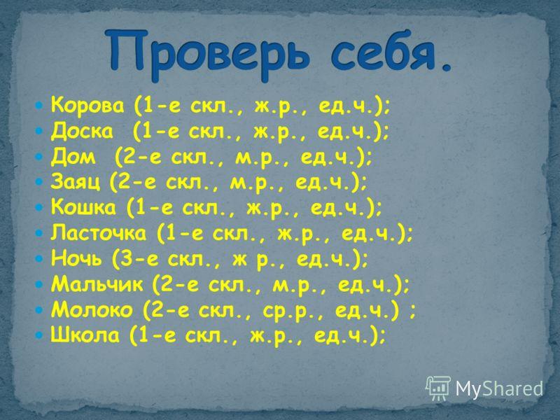 Корова (1-е скл., ж.р., ед.ч.); Доска (1-е скл., ж.р., ед.ч.); Дом (2-е скл., м.р., ед.ч.); Заяц (2-е скл., м.р., ед.ч.); Кошка (1-е скл., ж.р., ед.ч.); Ласточка (1-е скл., ж.р., ед.ч.); Ночь (3-е скл., ж р., ед.ч.); Мальчик (2-е скл., м.р., ед.ч.);