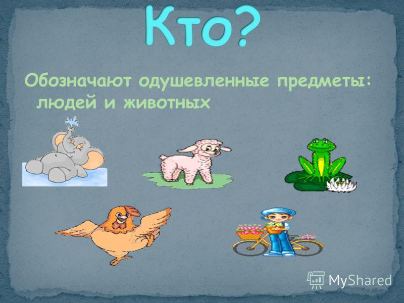 Обозначают одушевленные предметы: людей и животных