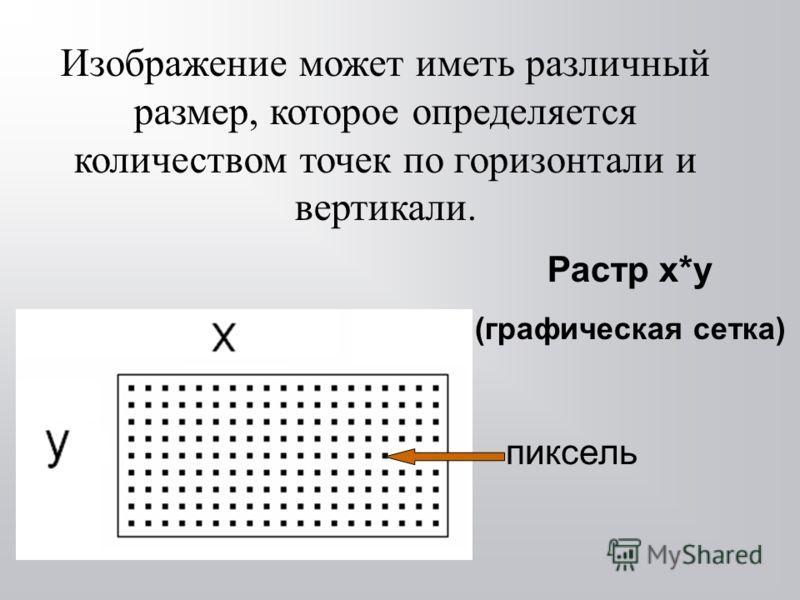 Изображение может иметь различный размер, которое определяется количеством точек по горизонтали и вертикали. Растр x*y (графическая сетка) пиксель