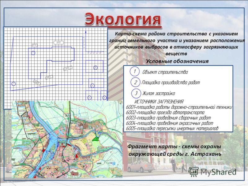 Карта-схема района строительства с указанием границ земельного участка и указанием расположения источников выбросов в атмосферу загрязняющих веществ Условные обозначения Фрагмент карты - схемы охраны окружающей среды г. Астрахань