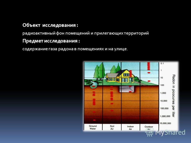 Объект исследования : радиоактивный фон помещений и прилегающих территорий Предмет исследования : содержание газа радона в помещениях и на улице.