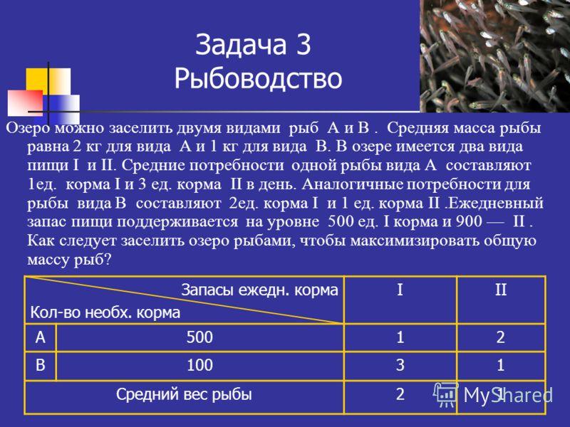 Задача 3 Рыбоводство Озеро можно заселить двумя видами рыб А и В. Средняя масса рыбы равна 2 кг для вида А и 1 кг для вида В. В озере имеется два вида пищи I и II. Средние потребности одной рыбы вида А составляют 1ед. корма I и 3 ед. корма II в день.