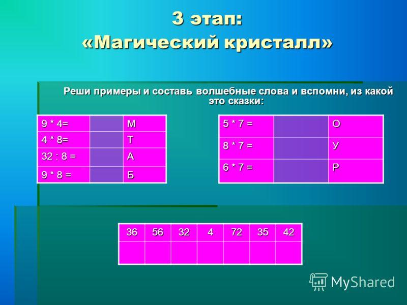 3 этап: «Магический кристалл» 9 * 4= М 4 * 8= Т 32 : 8 = А 9 * 8 = Б 5 * 7 = О 8 * 7 = У 6 * 7 = Р Реши примеры и составь волшебные слова и вспомни, из какой это сказки: 3656324723542