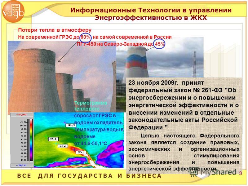 Потери тепла в атмосферу На современной ГРЭС до 60%, на самой современной в России ПГУ-450 на Северо-Западной до 45% Термограмма теплового сброса от ГРЭС в водоем охладитель. Температура воды в водоеме от 44,6-50,1°C 23 ноября 2009г. принят федеральн