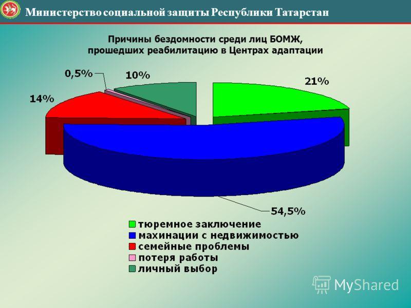 Министерство социальной защиты Республики Татарстан Причины бездомности среди лиц БОМЖ, прошедших реабилитацию в Центрах адаптации