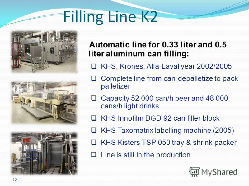 Filling Line K2 12 Automatic line for 0.33 liter and 0.5 liter aluminum can filling: KHS, Krones, Alfa-Laval year 2002/2005 Complete line from can-depalletize to pack palletizer Capacity 52 000 can/h beer and 48 000 cans/h light drinks KHS Innofilm D