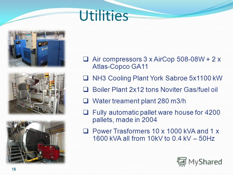Utilities 16 Air compressors 3 x AirCop 508-08W + 2 x Atlas-Copco GA11 NH3 Cooling Plant York Sabroe 5x1100 kW Boiler Plant 2x12 tons Noviter Gas/fuel oil Water treament plant 280 m3/h Fully automatic pallet ware house for 4200 pallets, made in 2004