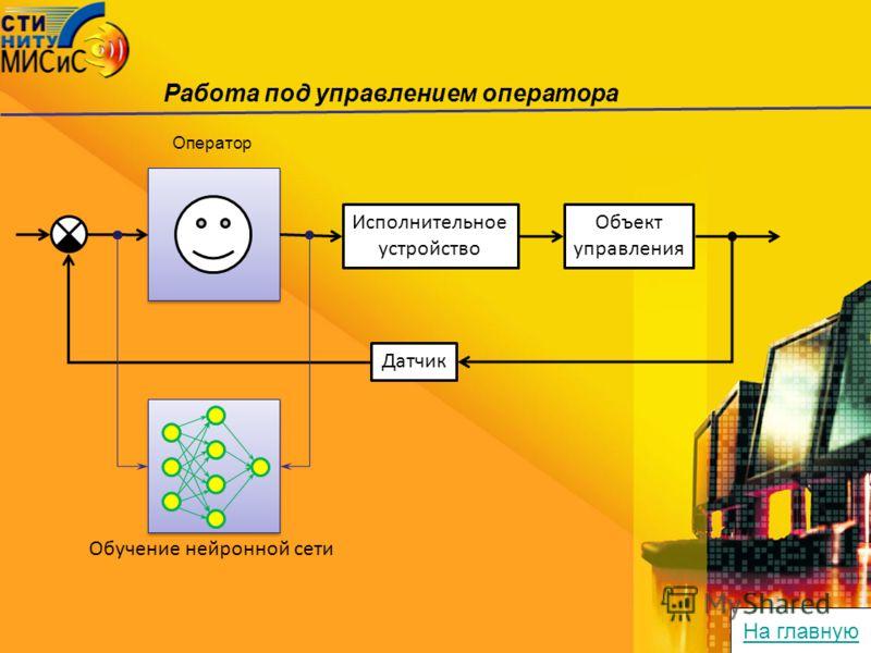 Работа под управлением оператора Оператор Исполнительное устройство Объект управления Датчик Обучение нейронной сети На главную