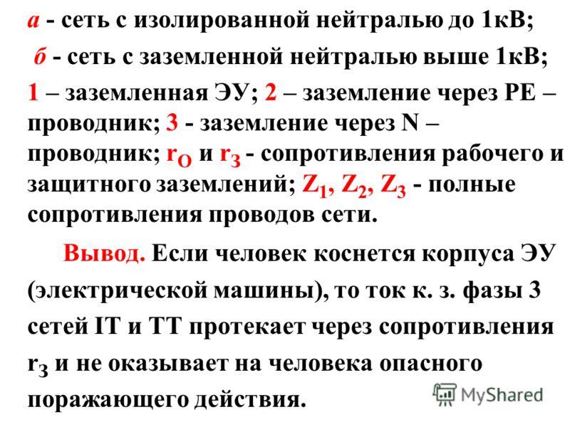 а - сеть с изолированной нейтралью до 1кВ; б - сеть с заземленной нейтралью выше 1кВ; 1 – заземленная ЭУ; 2 – заземление через PE – проводник; 3 - заземление через N – проводник; r О и r З - сопротивления рабочего и защитного заземлений; Z 1, Z 2, Z