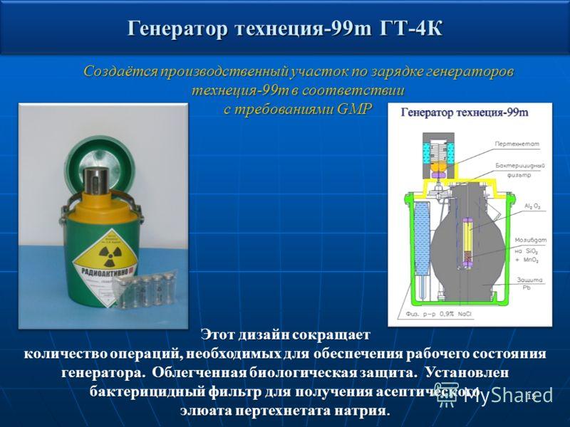 15 Этот дизайн сокращает количество операций, необходимых для обеспечения рабочего состояния генератора. Облегченная биологическая защита. Установлен бактерицидный фильтр для получения асептического элюата пертехнетата натрия. Создаётся производствен