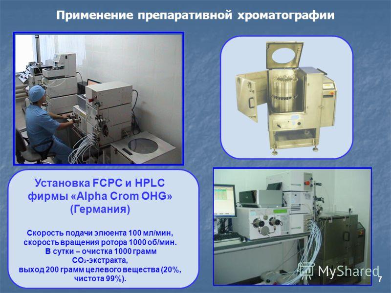 Применение препаративной хроматографии Установка FCPC и HPLC фирмы «Alpha Crom OHG» (Германия) Скорость подачи элюента 100 мл/мин, скорость вращения ротора 1000 об/мин. В сутки – очистка 1000 грамм СО 2 -экстракта, выход 200 грамм целевого вещества (