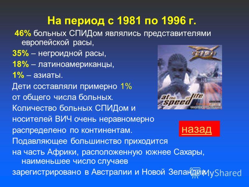 На период с 1981 по 1996 г. 46% больных СПИДом являлись представителями европейской расы, 35% – негроидной расы, 18% – латиноамериканцы, 1% – азиаты. Дети составляли примерно 1% от общего числа больных. Количество больных СПИДом и носителей ВИЧ очень