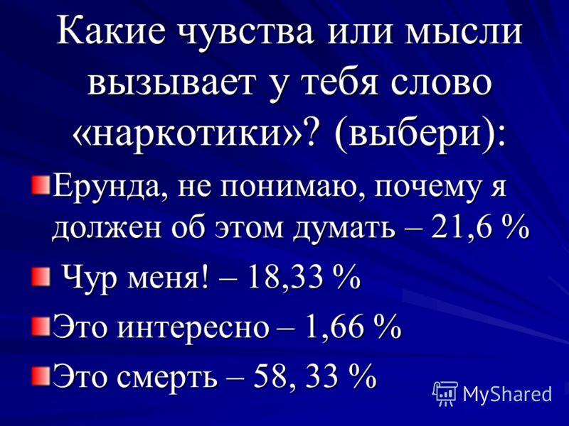 Какие чувства или мысли вызывает у тебя слово «наркотики»? (выбери): Ерунда, не понимаю, почему я должен об этом думать – 21,6 % Чур меня! – 18,33 % Чур меня! – 18,33 % Это интересно – 1,66 % Это смерть – 58, 33 %