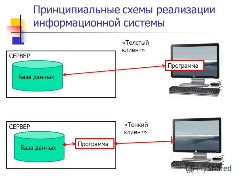 СЕРВЕР Принципиальные схемы реализации информационной системы База данных СЕРВЕР База данных Программа «Толстый клиент» «Тонкий клиент»