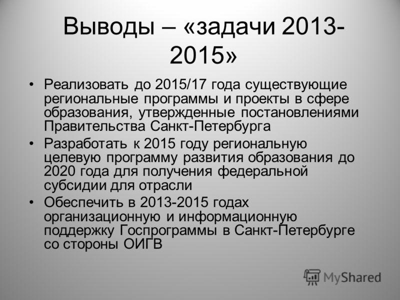 Выводы – «задачи 2013- 2015» Реализовать до 2015/17 года существующие региональные программы и проекты в сфере образования, утвержденные постановлениями Правительства Санкт-Петербурга Разработать к 2015 году региональную целевую программу развития об