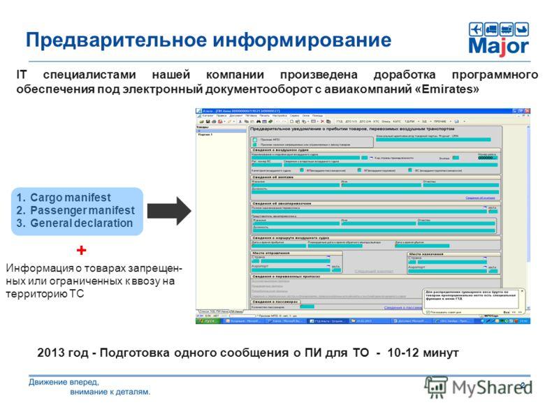 2 Предварительное информирование IT специалистами нашей компании произведена доработка программного обеспечения под электронный документооборот с авиакомпаний «Emirates» 1.Cargo manifest 2.Passenger manifest 3.General declaration 2013 год - Подготовк