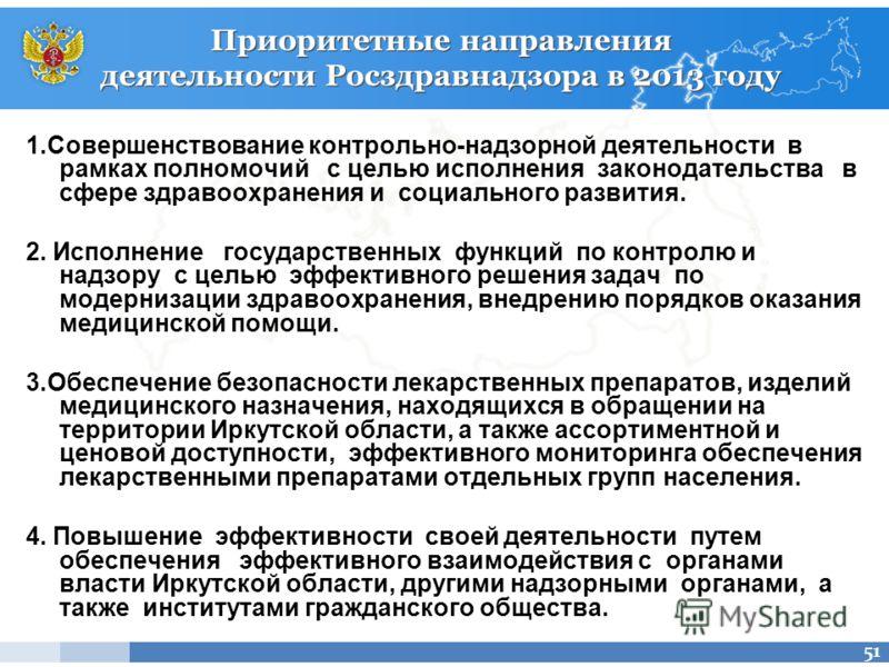 Приоритетные направления деятельности Росздравнадзора в 2013 году 1.Совершенствование контрольно-надзорной деятельности в рамках полномочий с целью исполнения законодательства в сфере здравоохранения и социального развития. 2. Исполнение государствен