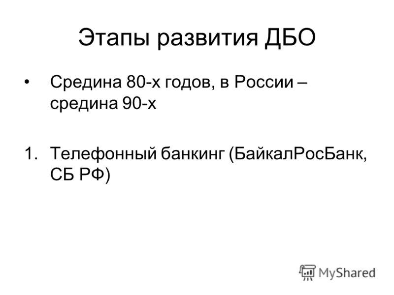 Этапы развития ДБО Средина 80-х годов, в России – средина 90-х 1.Телефонный банкинг (БайкалРосБанк, СБ РФ)