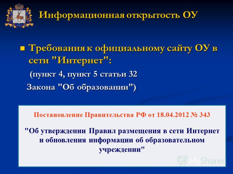 Информационная открытость ОУ Требования к официальному сайту ОУ в сети