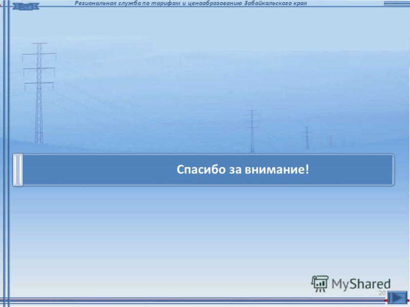 20 РСТ Региональная служба по тарифам и ценообразованию Забайкальского края Спасибо за внимание!
