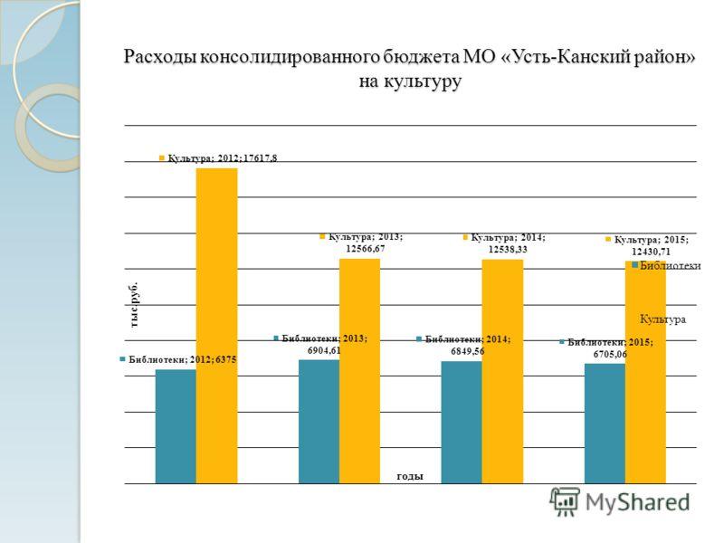 Расходы консолидированного бюджета МО «Усть-Канский район» на культуру