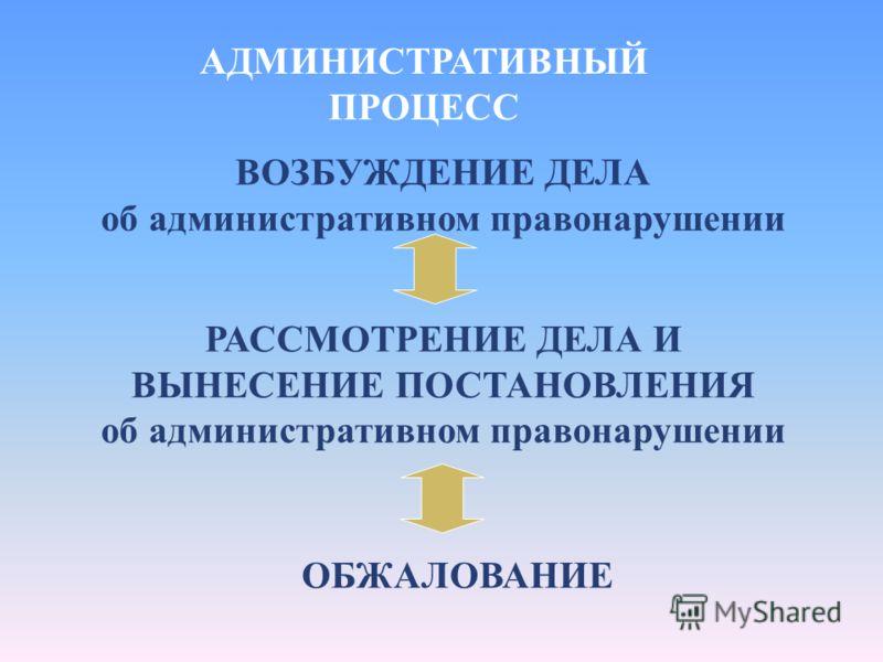 АДМИНИСТРАТИВНЫЙ ПРОЦЕСС ВОЗБУЖДЕНИЕ ДЕЛА об административном правонарушении РАССМОТРЕНИЕ ДЕЛА И ВЫНЕСЕНИЕ ПОСТАНОВЛЕНИЯ об административном правонарушении ОБЖАЛОВАНИЕ