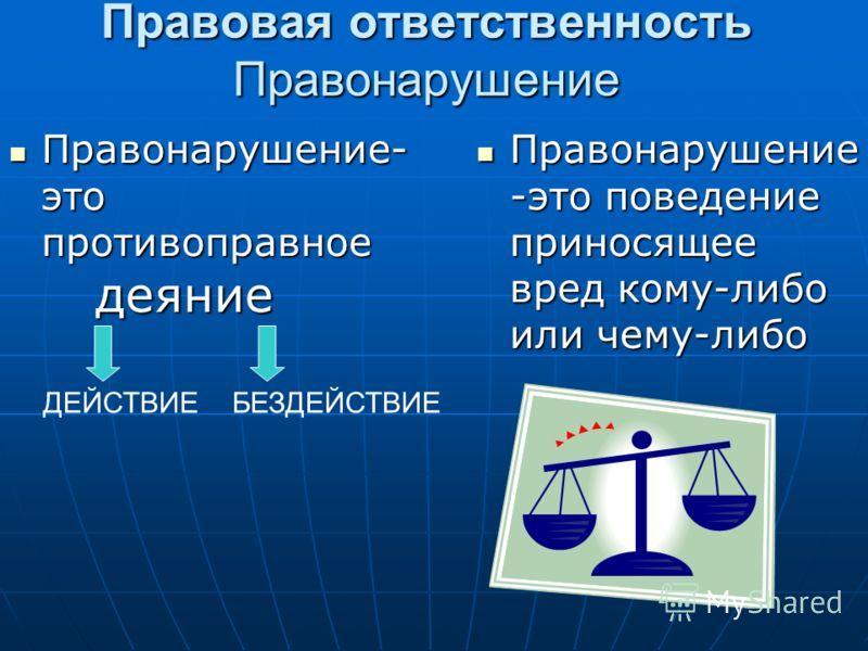 Правовая ответственность Правонарушение Правонарушение- это противоправное деяние Правонарушение- это противоправное деяние Правонарушение -это поведение приносящее вред кому-либо или чему-либо Правонарушение -это поведение приносящее вред кому-либо