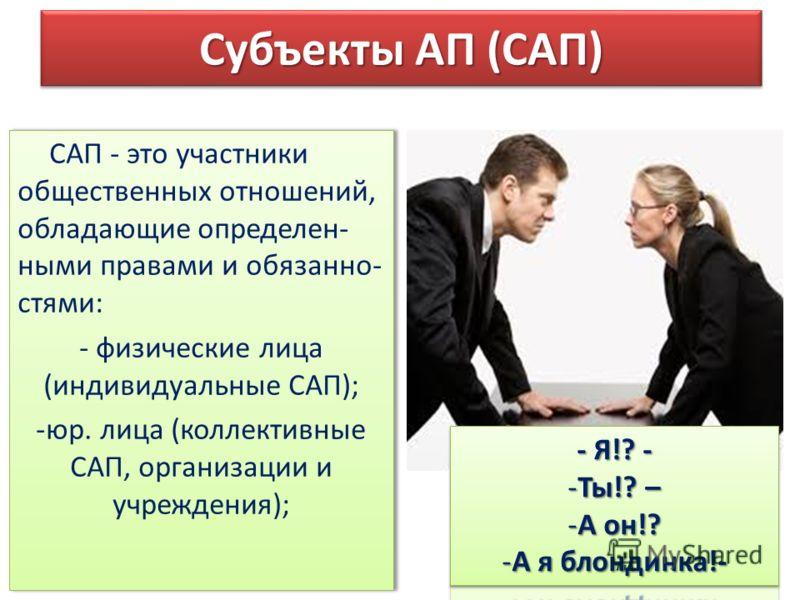 Субъекты АП (САП) САП - это участники общественных отношений, обладающие определен- ными правами и обязанно- стями: - физические лица (индивидуальные САП); -юр. лица (коллективные САП, организации и учреждения); САП - это участники общественных отнош