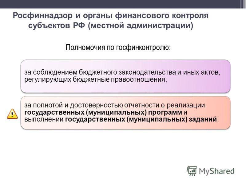 Росфиннадзор и органы финансового контроля субъектов РФ (местной администрации) Полномочия по госфинконтролю: