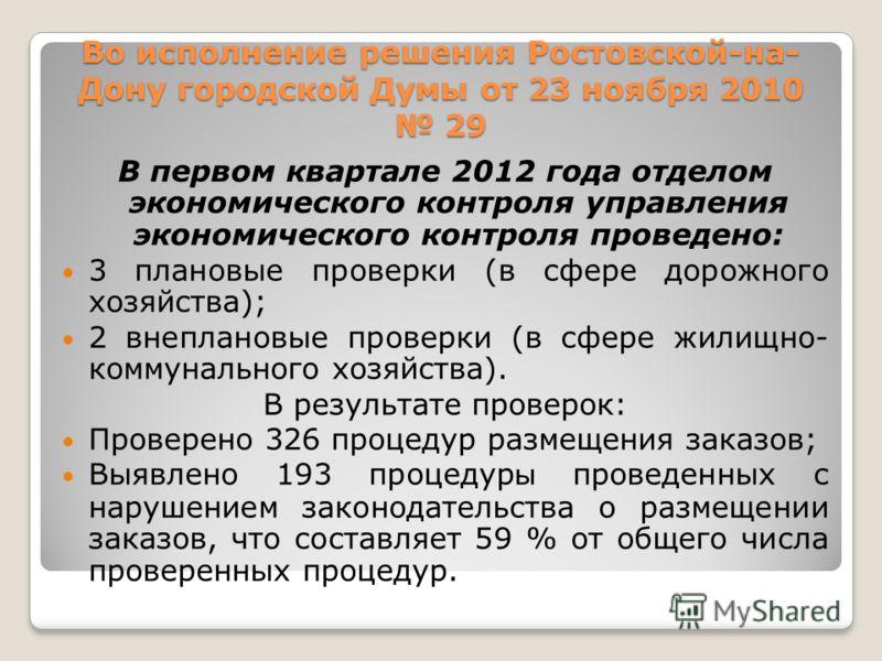 Во исполнение решения Ростовской-на- Дону городской Думы от 23 ноября 2010 29 В первом квартале 2012 года отделом экономического контроля управления экономического контроля проведено: 3 плановые проверки (в сфере дорожного хозяйства); 2 внеплановые п