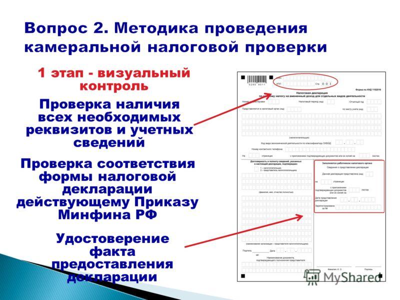 1 этап - визуальный контроль Проверка соответствия формы налоговой декларации действующему Приказу Минфина РФ Проверка наличия всех необходимых реквизитов и учетных сведений Удостоверение факта предоставления декларации