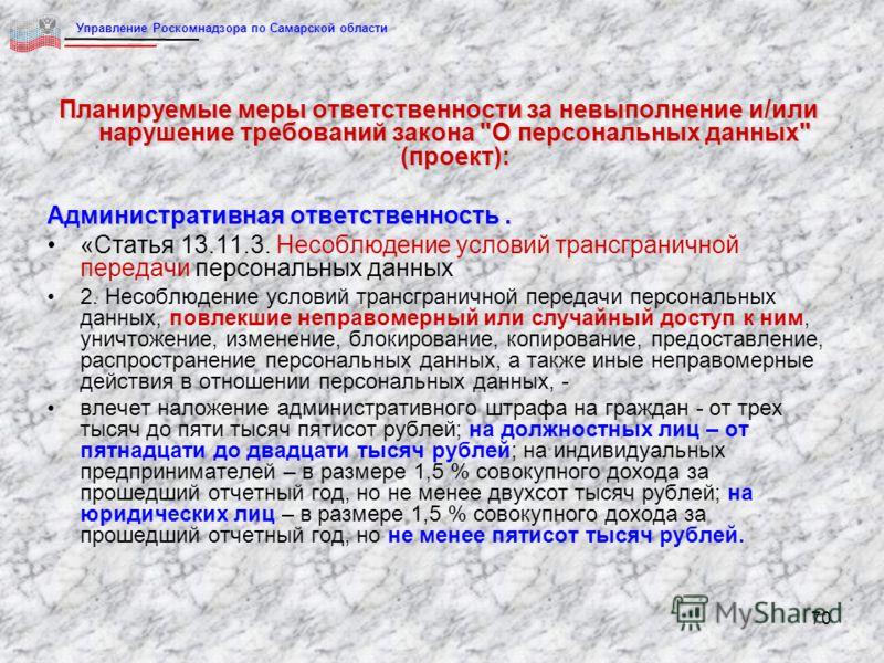 70 Планируемые меры ответственности за невыполнение и/или нарушение требований закона