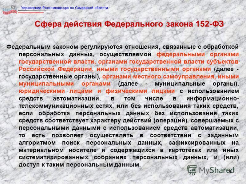 99 Сфера действия Федерального закона 152-ФЗ Федеральным законом регулируются отношения, связанные с обработкой персональных данных, осуществляемой федеральными органами государственной власти, органами государственной власти субъектов Российской Фед