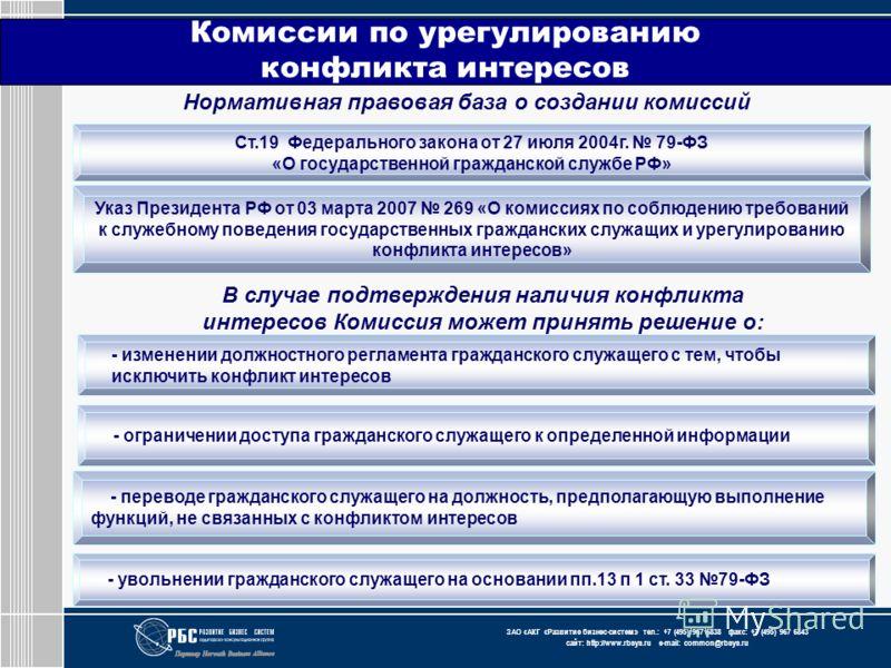 ЗАО « АКГ « Развитие бизнес-систем » тел.: +7 (495) 967 6838 факс: +7 (495) 967 6843 сайт: http://www.rbsys.ru e-mail: common@rbsys.ru Комиссии по урегулированию конфликта интересов Ст.19 Федерального закона от 27 июля 2004г. 79-ФЗ «О государственной